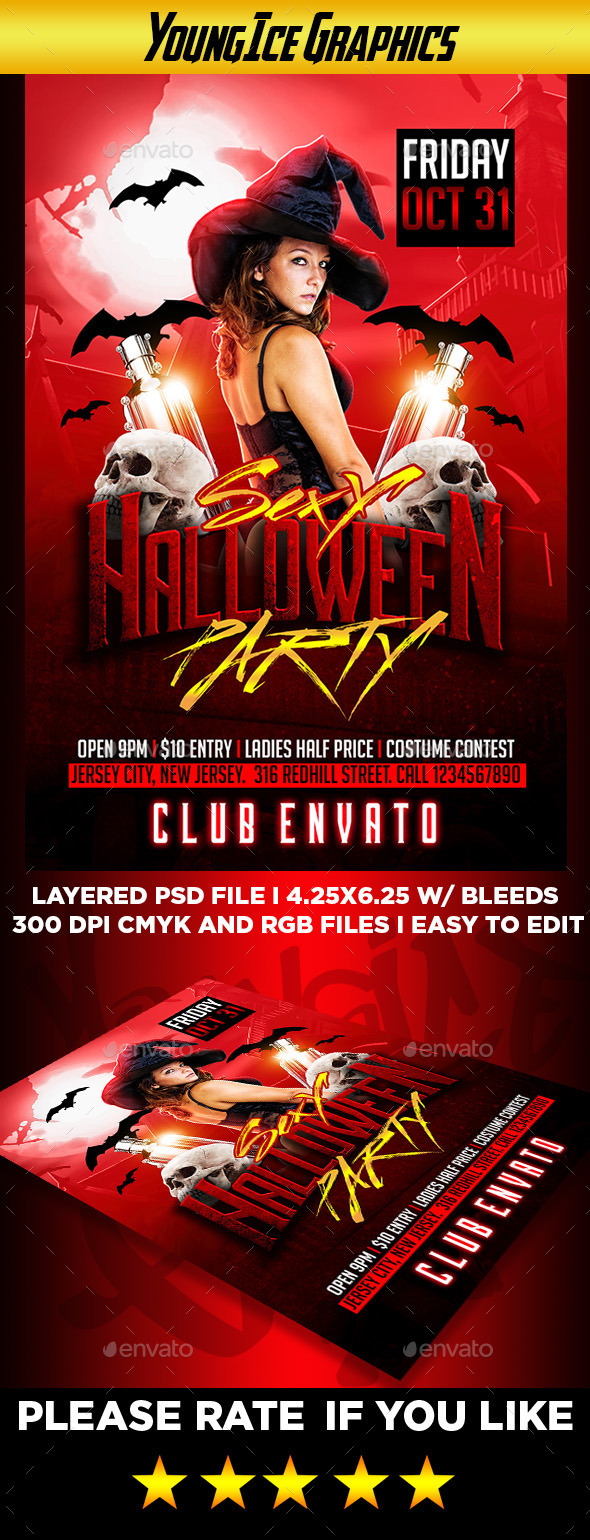 Sexy Halloween Party Flyer - Clubs & Parties Events