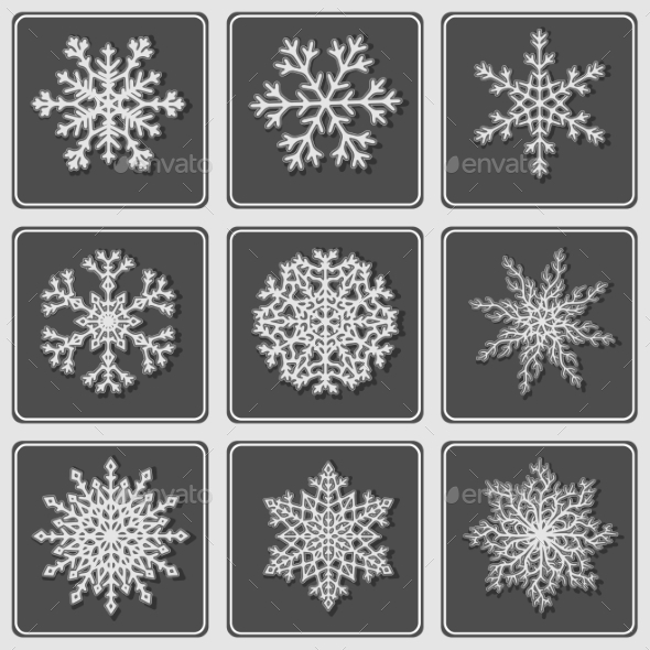 Set of Beautiful Paper Snowflakes - Decorative Symbols Decorative