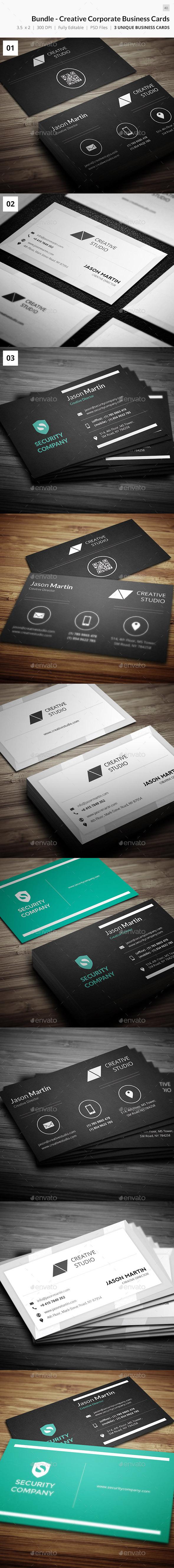 Bundle - Creative Corporate Business Cards - 40 - Creative Business Cards
