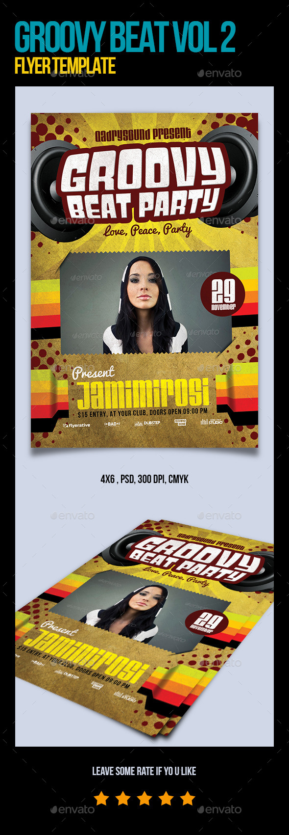 Groovy Beat Vol 2 Flyer Template - Clubs & Parties Events