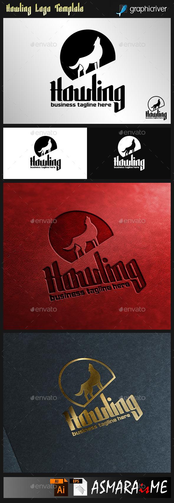 Howling - Wolf Night Logo - Animals Logo Templates