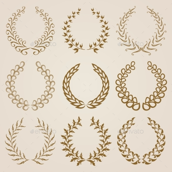 Set of Gold Laurel Wreaths - Decorative Symbols Decorative