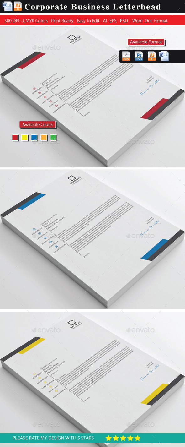 Corporate2 Business Letterhead - Stationery Print Templates