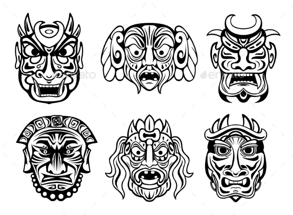Religious Masks in Tribal Style - Religion Conceptual