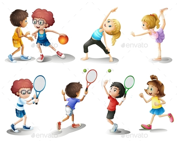Kids Exercising and Playing Different Sports - People Characters