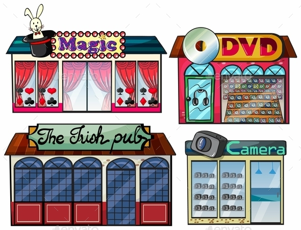 Amusement Area, dvd and Camera Shop - Objects Vectors