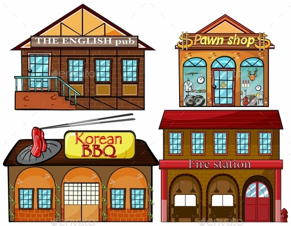 English Pub, Korean Restaurant, Pawnshop and Fire  - Buildings Objects