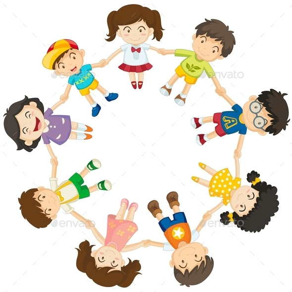 Kids forming a Circle - People Characters