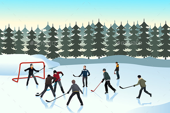 Men Playing Ice Hockey Outdoor - Sports/Activity Conceptual