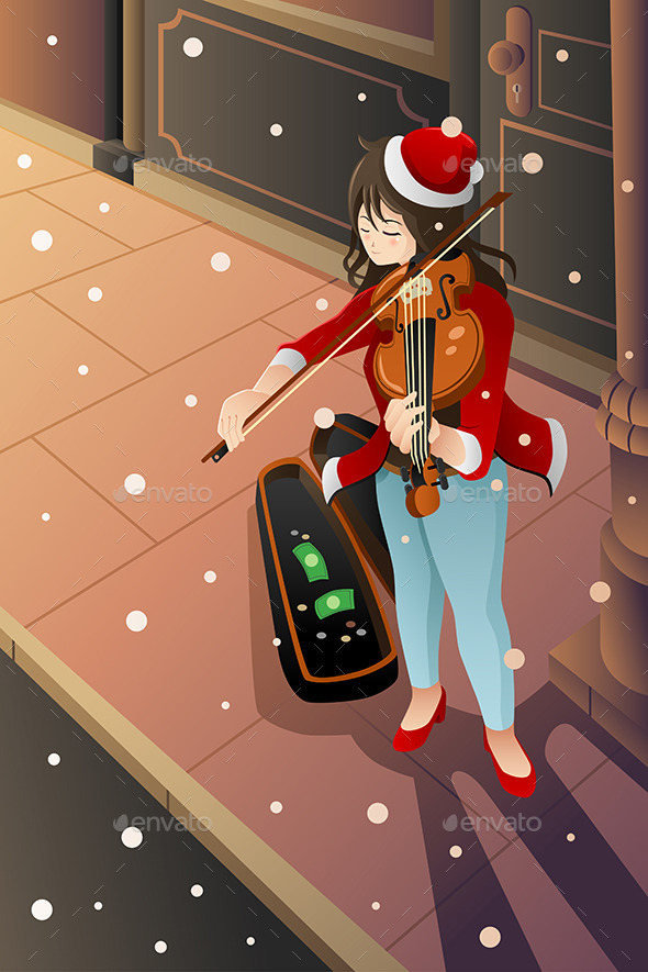 Girl Playing Violin - People Characters