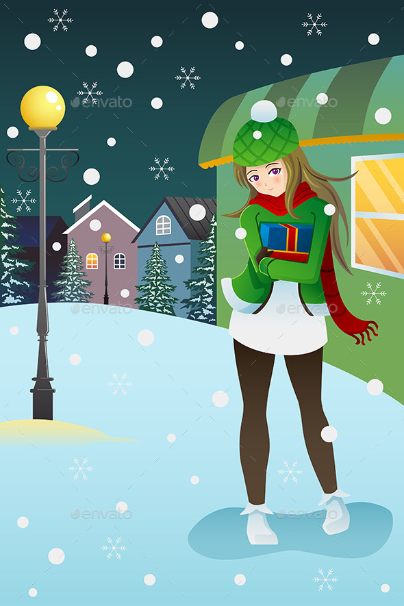 Girl Standing in the Middle of a Winter Night - People Characters