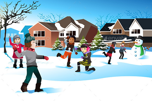Kids Playing Snowball Fight - Seasons/Holidays Conceptual
