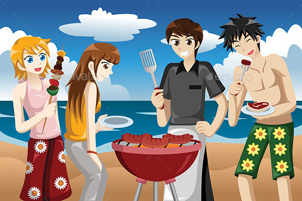 Young People Having a BBQ - People Characters