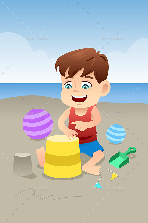 Boy Playing on the Beach - People Characters