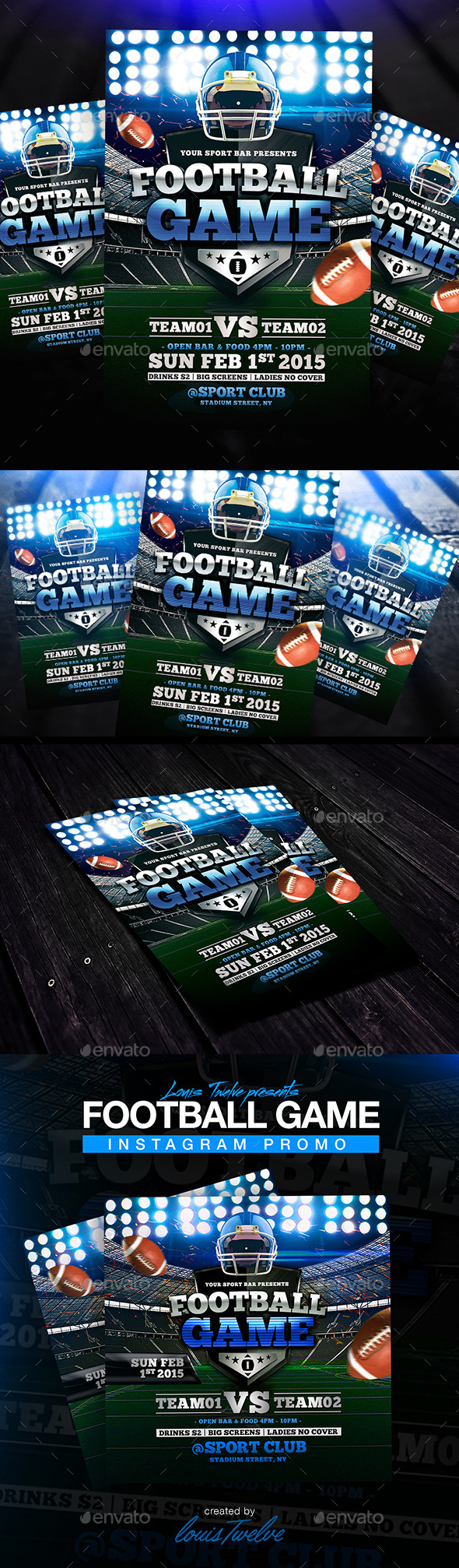 Football Game Flyer + Instagram Promo - Sports Events