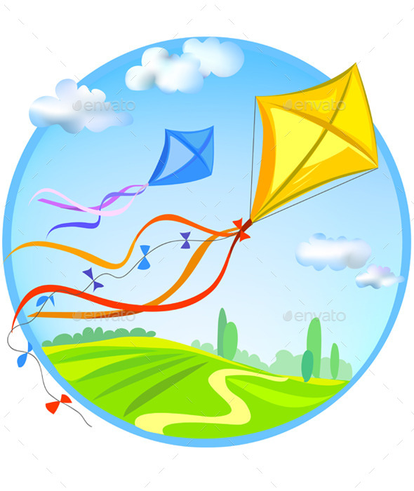Kite and Rural Landscape - Sports/Activity Conceptual