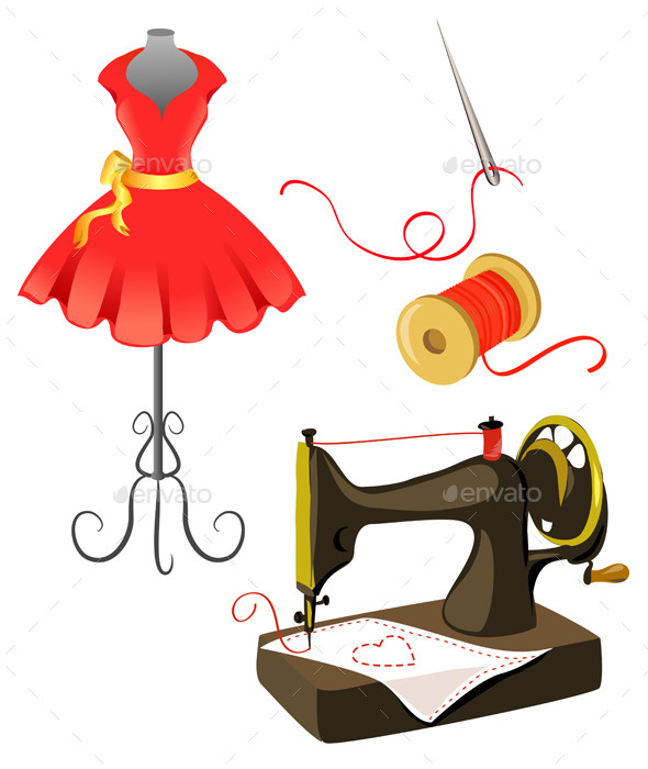 Mannequin Dress Sewing Machine Isolated - Objects Vectors