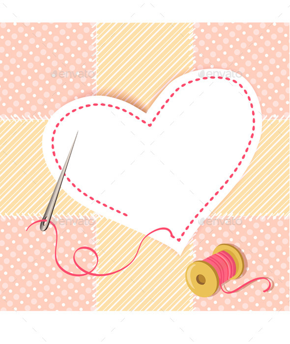 Patchwork Heart with a Needle Thread - Objects Vectors