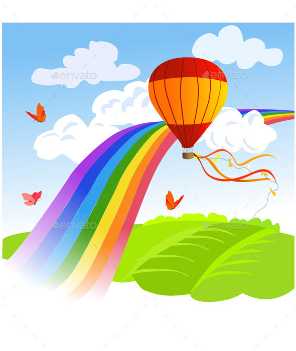 Rainbow Landscape and Hot Air Balloon - Landscapes Nature