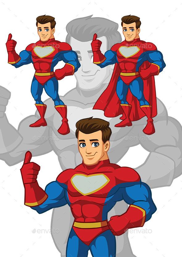 Muscle Superhero Mascot - People Characters