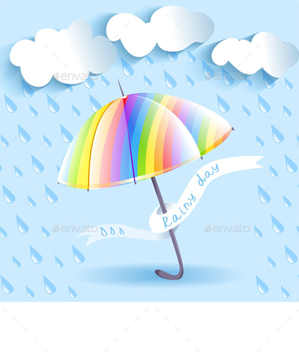 Rainbow Umbrella and Rain - Seasons Nature
