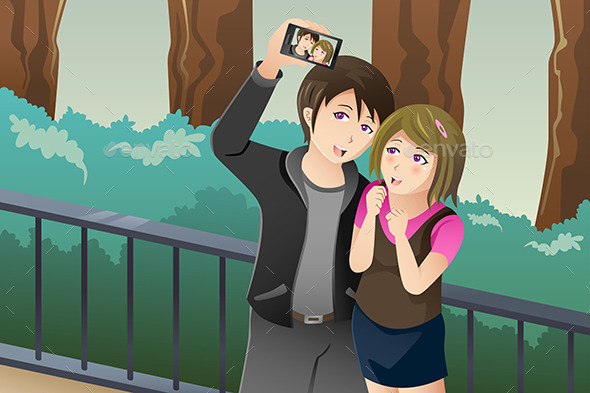Couple Taking a Selfie Picture of Themselves - People Characters