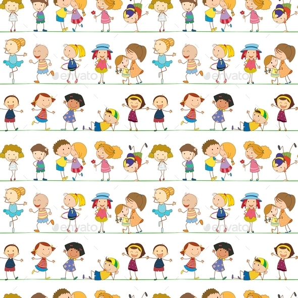 Seamless Children - People Characters