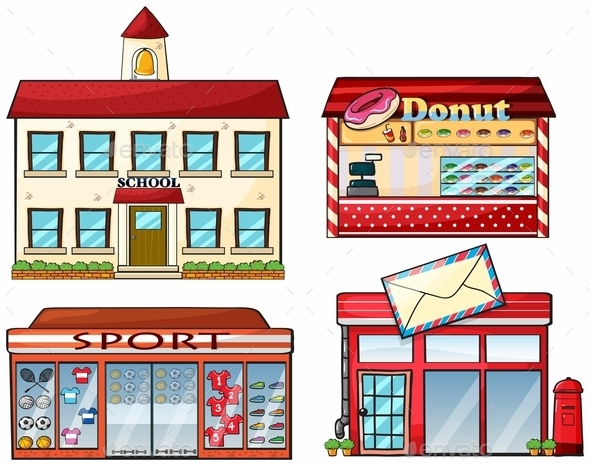 A School, Donut Store, Sport Shop and a Post Office - Buildings Objects