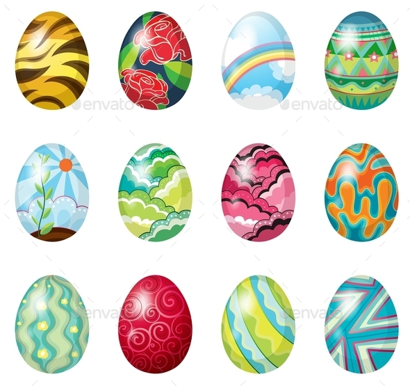 A Dozen of Colorful Easter Eggs - Man-made Objects Objects