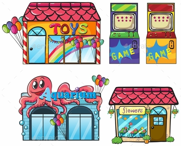 Different Stores - Buildings Objects