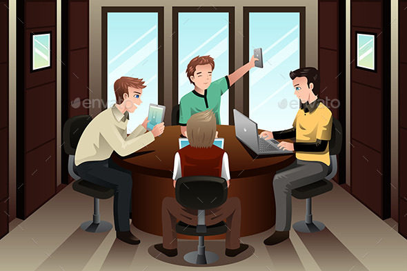 Young Businessmen with Their Electronic Gadgets - Business Conceptual