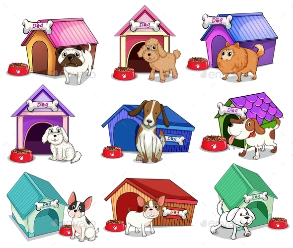 Dogs with Houses - Animals Characters