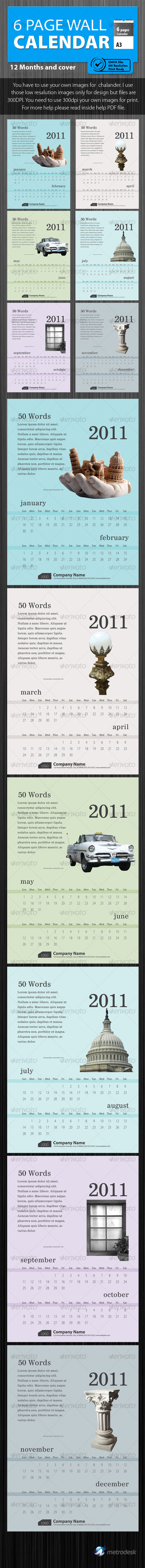 Wall calendar 2011 [6 Page] Print Ready  - Calendars Stationery
