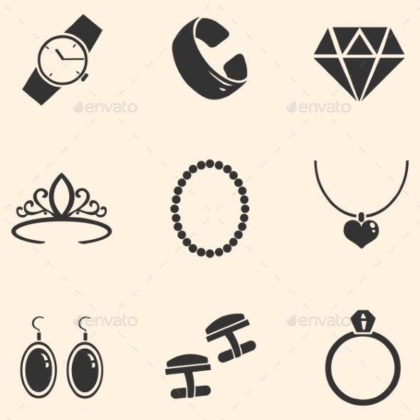 Vector Set of Jewellery Icons - Man-made objects Objects
