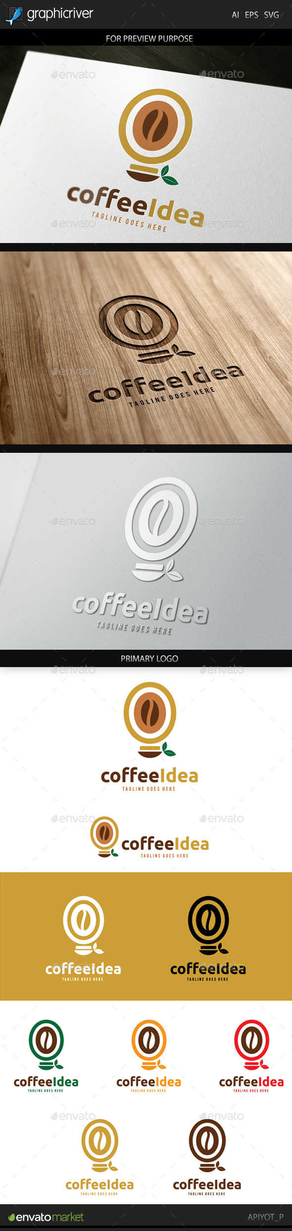Coffee Idea Logo - Food Logo Templates