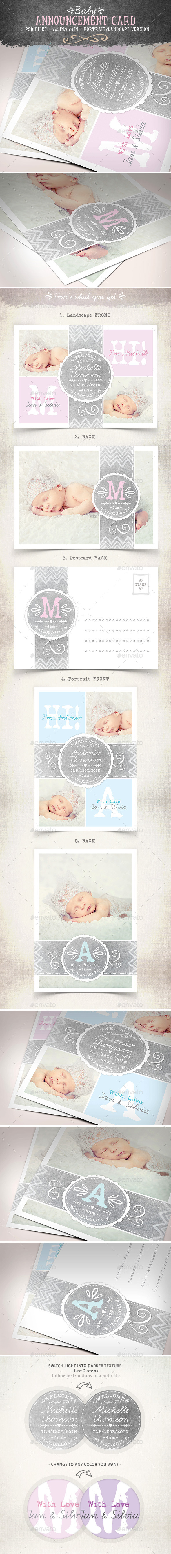 Swirls Baby Announcement Card - Vol.3 - Family Cards & Invites