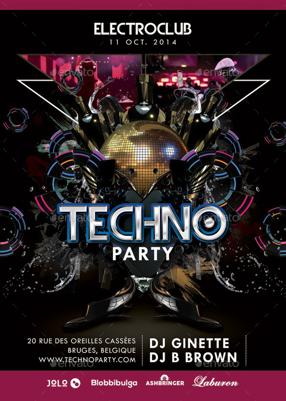 Abstract Electro Techno Party Night With Dj - Clubs & Parties Events