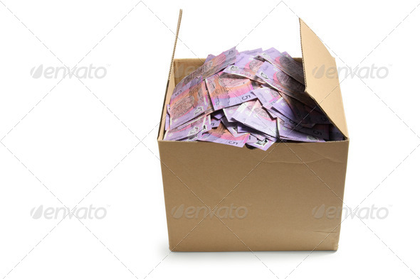 Banknotes in Cardboard Box - Stock Photo - Images