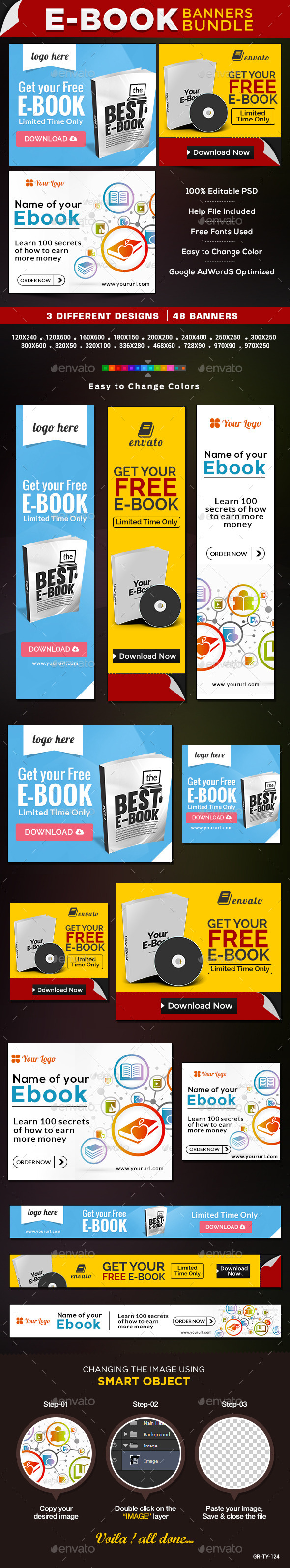E-Books & Digital Products Bundle - 3 Banner Sets - Banners & Ads Web Elements