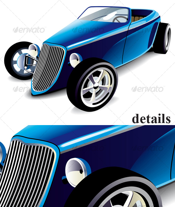 Blue Hot Rod - Objects Vectors