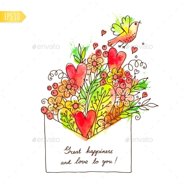 Greeting Card with Hearts, Bird and Flowers - Valentines Seasons/Holidays