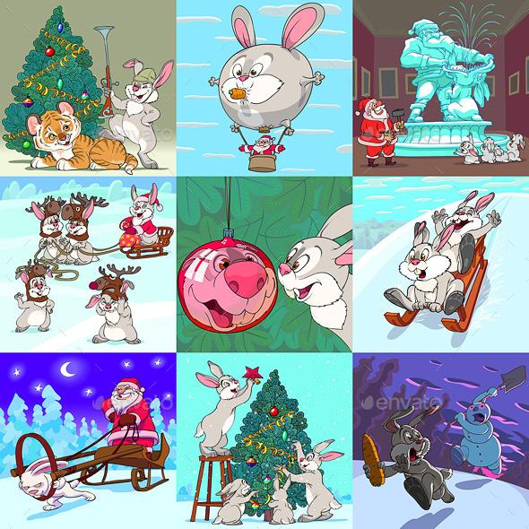 Set of Xmas Caricatures. New Year and Bannies. - Christmas Seasons/Holidays