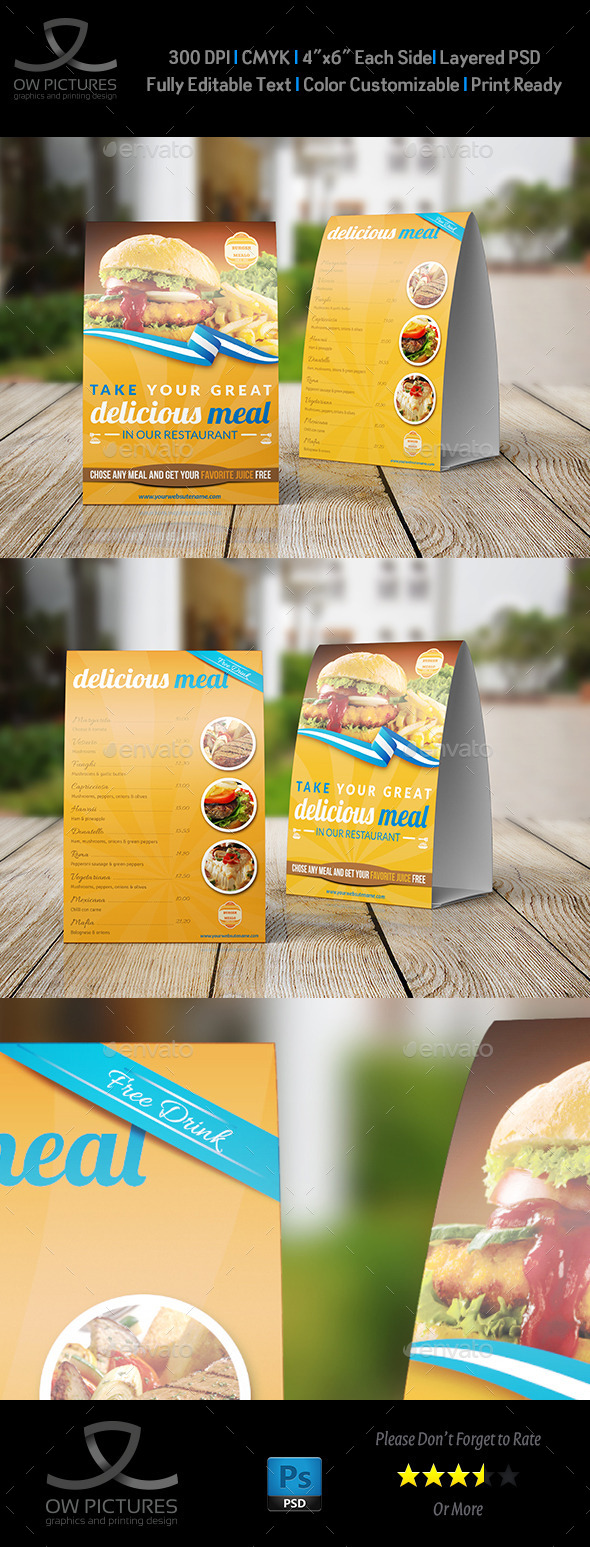 Restaurant and Cafe Table Tent Template - Food Menus Print Templates