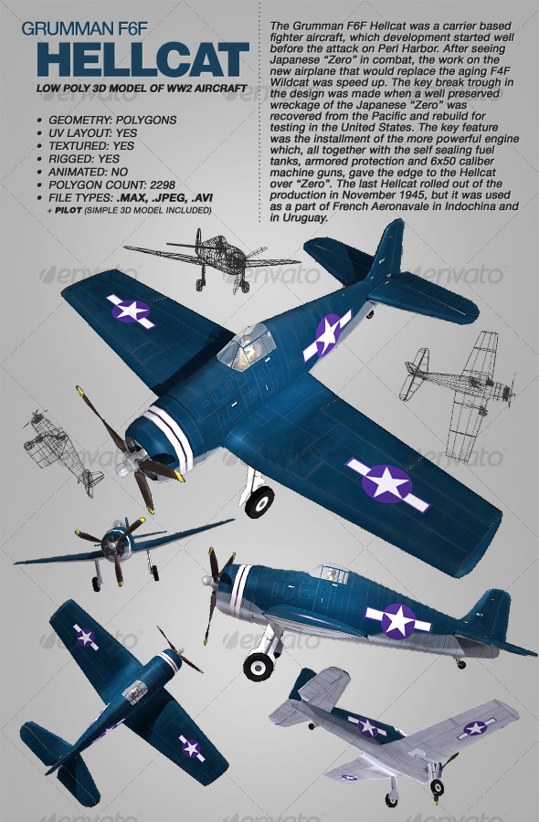 Grumman F6F Hellcat rigged 3Ds model of aircraft - 3DOcean Item for Sale