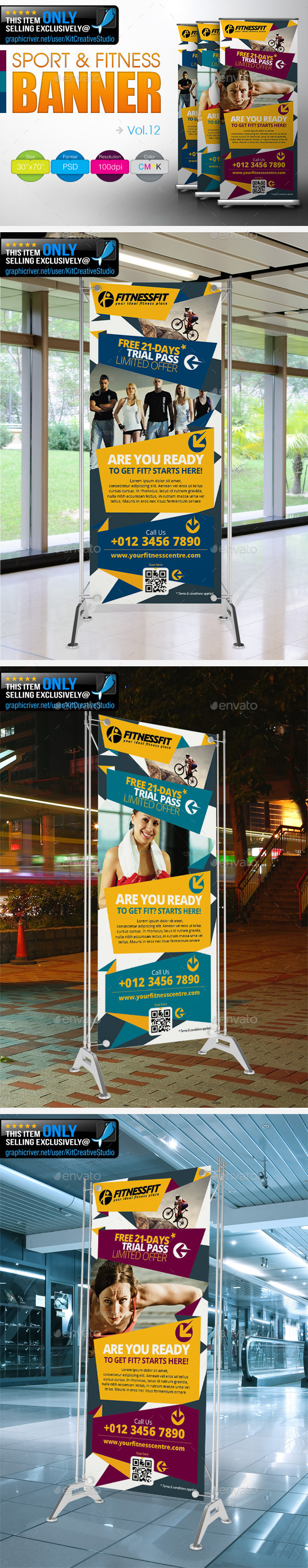 Fitness Banner Vol.12 - Signage Print Templates