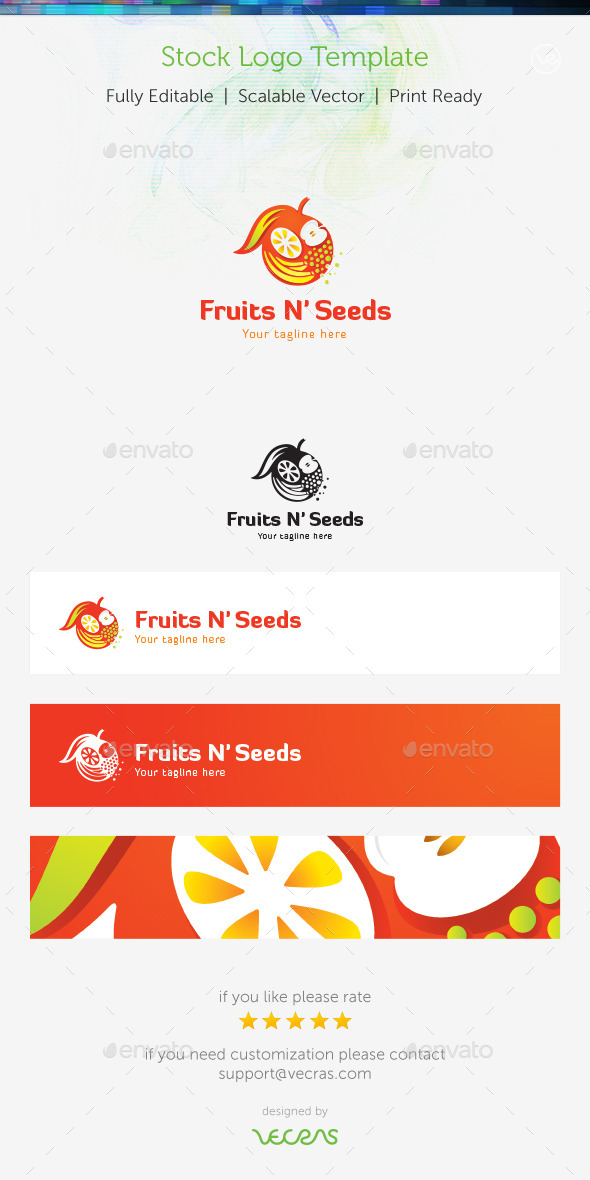Fruits n' Seeds Stock Logo Template  - Food Logo Templates