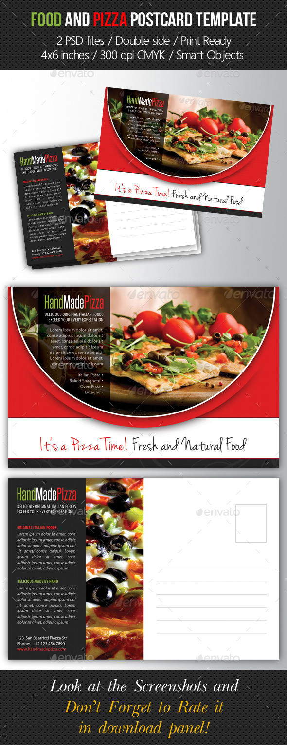 Food and Pizza Postcard Template - Cards & Invites Print Templates