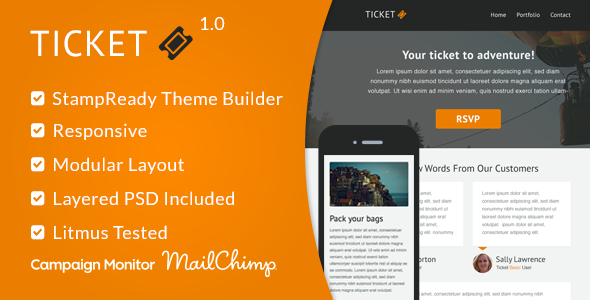 Ticket - Responsive Email Template + StampReady - Email Templates Marketing