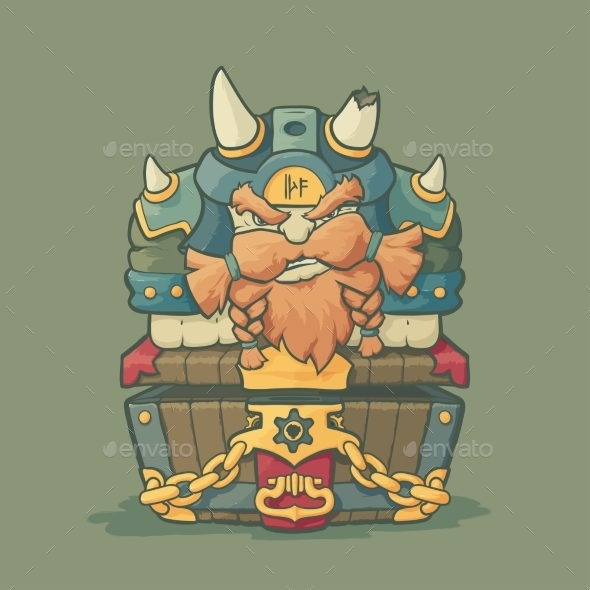 Cartoon Styled Dwarf Sitting on the Chest  - Characters Vectors