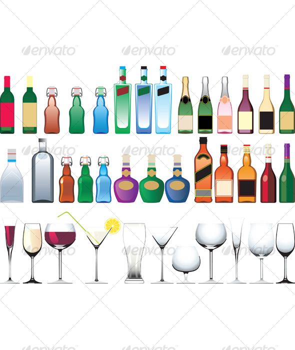 Different bottles, cups and glasses - Man-made Objects Objects